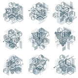 Abstract vector backgrounds with isometric lines and shapes. Cub. Es, hexagons, squares, rectangles and different abstract elements. Vector collection Stock Images