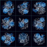 Abstract vector backgrounds with isometric lines and shapes. Cub Royalty Free Stock Image
