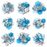 Abstract vector backgrounds with isometric lines and shapes. Cub. Es, hexagons, squares, rectangles and different abstract elements. Vector collection Stock Photo