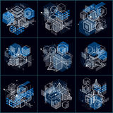 Abstract vector backgrounds with isometric lines and shapes. Cub. Es, hexagons, squares, rectangles and different abstract elements. Vector collection Stock Image