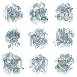 Abstract vector backgrounds with isometric lines and shapes. Cub Stock Photography