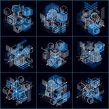 Abstract vector backgrounds with isometric lines and shapes. Cub. Es, hexagons, squares, rectangles and different abstract elements. Vector collection Royalty Free Stock Photography