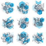 Abstract vector backgrounds with isometric lines and shapes. Cub Royalty Free Stock Images
