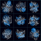 Abstract vector backgrounds with isometric lines and shapes. Cub. Es, hexagons, squares, rectangles and different abstract elements. Vector collection Royalty Free Stock Image