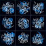 Abstract vector backgrounds with isometric lines and shapes. Cub. Es, hexagons, squares, rectangles and different abstract elements. Vector collection Stock Photos