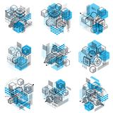 Abstract vector backgrounds with isometric lines and shapes. Cub. Es, hexagons, squares, rectangles and different abstract elements. Vector collection vector illustration