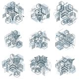 Abstract vector backgrounds with isometric lines and shapes. Cub. Es, hexagons, squares, rectangles and different abstract elements. Vector collection Royalty Free Stock Images