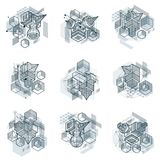 Abstract vector backgrounds with isometric lines and shapes. Cub. Es, hexagons, squares, rectangles and different abstract elements. Vector collection stock illustration