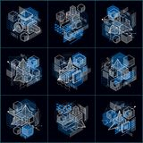 Abstract vector backgrounds with isometric lines and shapes. Cub. Es, hexagons, squares, rectangles and different abstract elements. Vector collection Stock Photography
