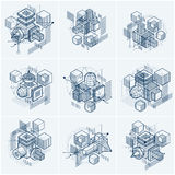 Abstract vector backgrounds with isometric lines and shapes. Cubes, hexagons, squares, rectangles and different abstract elements. Vector collection Stock Image