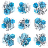 Abstract vector backgrounds with isometric lines and shapes.. Cubes, hexagons, squares, rectangles and different abstract elements. Vector collection Royalty Free Stock Image