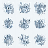 Abstract vector backgrounds with isometric lines and shapes.. Cubes, hexagons, squares, rectangles and different abstract elements. Vector collection Royalty Free Stock Photo