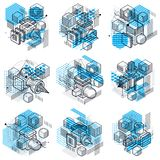 Abstract vector backgrounds with isometric lines and shapes. Cub. Es, hexagons, squares, rectangles and different abstract elements. Vector collection royalty free illustration