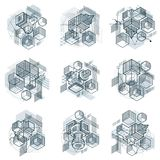 Abstract vector backgrounds with isometric lines and shapes. Cub. Es, hexagons, squares, rectangles and different abstract elements. Vector collection Royalty Free Stock Photo