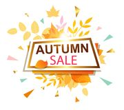 Banner for seasonal autumn sale. Abstract vector banner for seasonal autumn sale in retro style Royalty Free Stock Photos