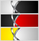 Abstract vector banners with metal waves Stock Photos