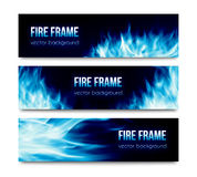 Abstract vector banners set with blue fire flames. Set of black horizontal vector banners with realistic transparent bright blue fire flames  on white background Royalty Free Stock Images