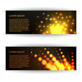 Abstract vector banners. Shine and bright banners, or cards. Vector banners with abstract background. Shine dots. Banner design Stock Photography