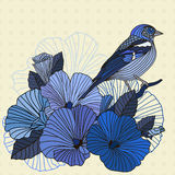 Abstract vector birds and flowers. Abstract  flowers and bird in the garden in blue on a beige background Royalty Free Stock Image