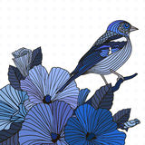 Abstract vector birds and flowers. Abstract vector illustration of birds and flowers in blue Stock Photography
