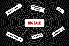 Abstract vector - black friday sale - background. Spider web - black friday and cyber monday, Abstract vector - black friday sale - background Stock Images