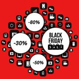 Abstract vector black friday sale layout background. Royalty Free Stock Photography