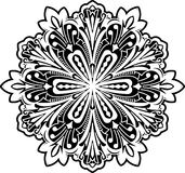 Abstract vector black round lace design - mandala, ethnic decora Royalty Free Stock Image