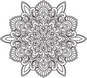 Abstract vector black round lace design - mandala, ethnic decora Royalty Free Stock Photo