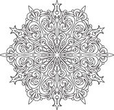Abstract vector black round lace design - mandala, ethnic decora Royalty Free Stock Images