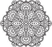 Abstract vector black round lace design - mandala, ethnic decora Stock Image