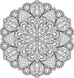 Abstract vector black round lace design - mandala, ethnic decora Stock Photography