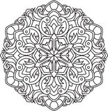 Abstract vector black round lace design in mono line style - man Stock Images