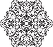 Abstract vector black round lace design in mono line style - man Stock Photos