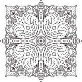 Abstract vector black square lace design in mono line style - ma Stock Images