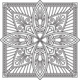 Abstract vector black square lace design in mono line style - ma Stock Photography