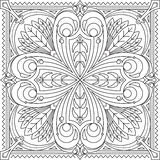 Abstract vector black square lace design in mono line style - ma Royalty Free Stock Photo