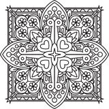 Abstract vector black square lace design in mono line style - ma Royalty Free Stock Image
