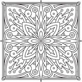 Abstract vector black square lace design in mono line style - ma Stock Photos