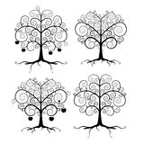 Abstract Vector Black Tree Illustration Set. On White Background Stock Image