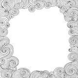 Abstract vector black and white decorative frame with curling lines Stock Photography