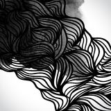 Abstract vector black and white design with waves Stock Photos