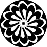 Abstract Vector Black and white Mandala circular flower, center star, geometric illustration vector illustration