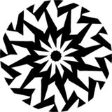 Abstract Vector Black and white Mandala geometric shuriken pattern, round ornament, illustration vector illustration