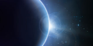 Abstract vector blue background with planet and eclipse of its star. Bright star light shine from the edge of a planet with a protuberance. Sparkles of stars Stock Photo
