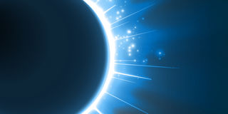 Abstract vector blue background with planet and eclipse of its star. Bright star light shine from the edges of a planet. Sparkles of stars on the background stock illustration