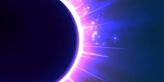 Abstract vector blue background with planet and eclipse of its star. Bright star violet light shine from the edges of a planet. Sparkles of stars on the stock illustration