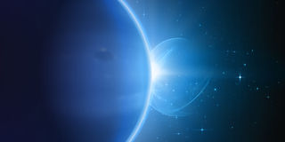 Abstract vector blue background with plant and eclipse of its star. Stock Photography