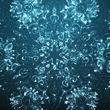 Abstract vector blue space background. Cyber flower. Glowing particles. Futuristic technology style. Stock Images