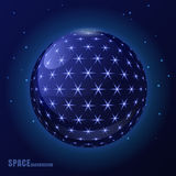 Abstract vector blue sphere with shining stars, futuristic backg Stock Photography