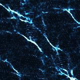 Abstract vector blue wave mesh background. Point cloud array. Chaotic light waves. Technological cyberspace background. Stock Photos